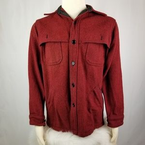 Mens Vintage Woolrich Red Button Up Jacket